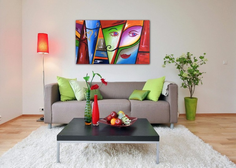 Oil painting, Abstract,M&W, BRIGHT COLOURS, HUGE WALL ARTWORK - Image 0