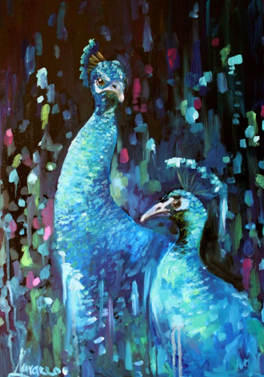"Original oil painting of peacocks ""Duo"" - Image 0"