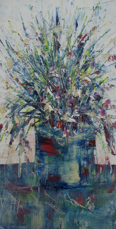 Still life with blue flowers - Image 0