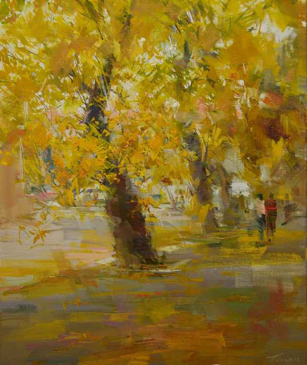 "Autumn landscape painting ""Autumn Rain"" -"