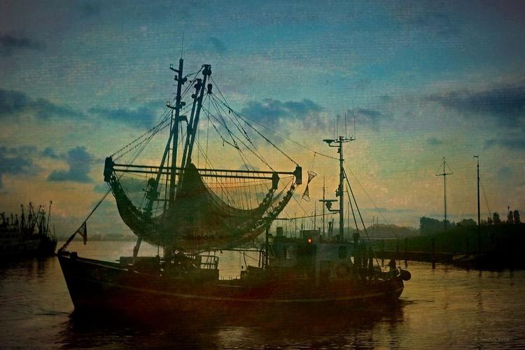 Shrimp Boat at Sunrise - Canvas 75 x 50 cm - Image 0