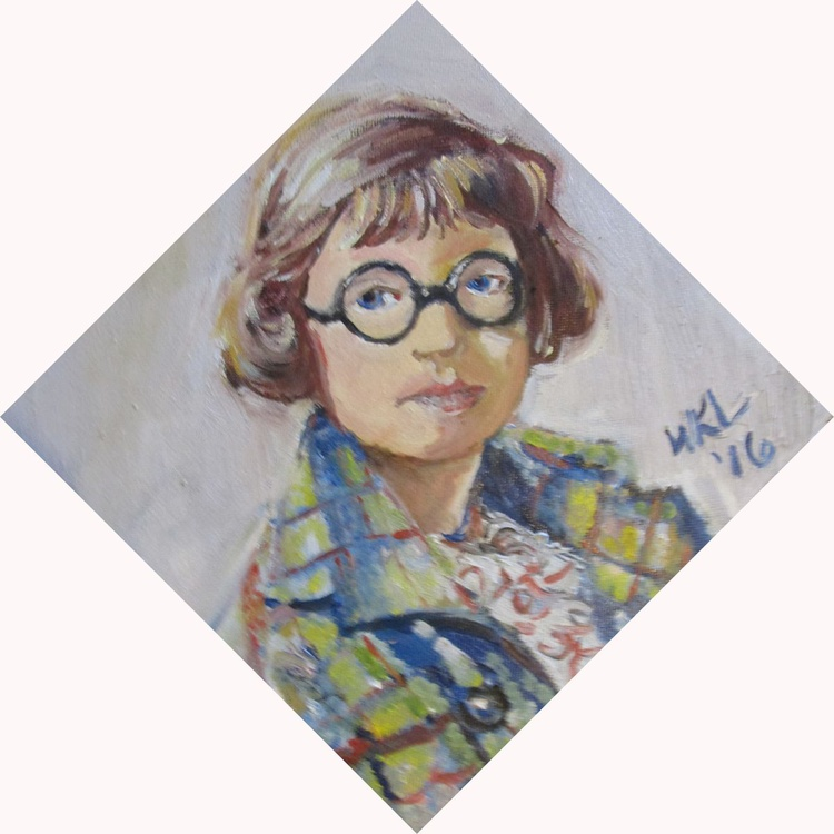 Girl in Plaid Coat with Glasses - Image 0