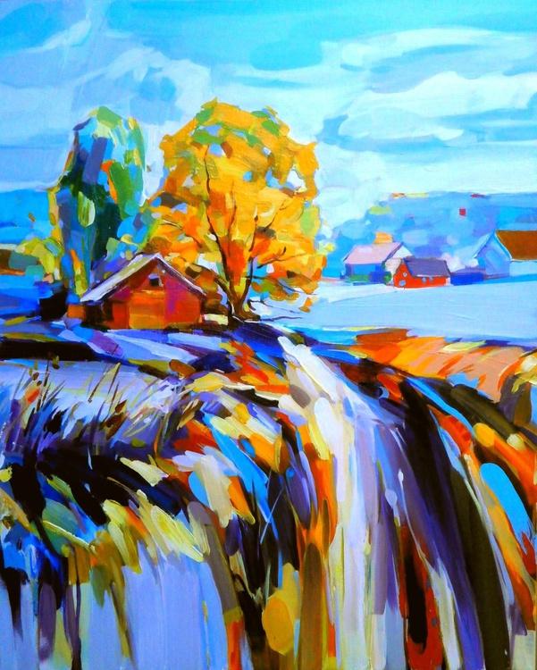 Landscape wth Red Barn. Rural Patoral. - Image 0