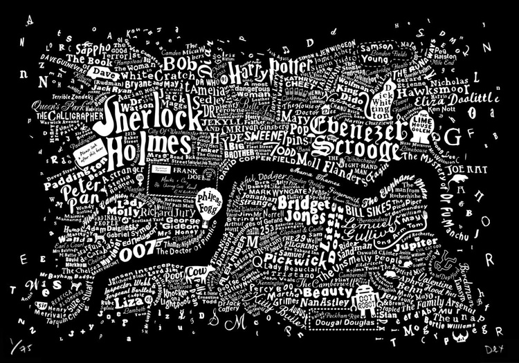 Literary Central London Map (black screenprint) - Image 0