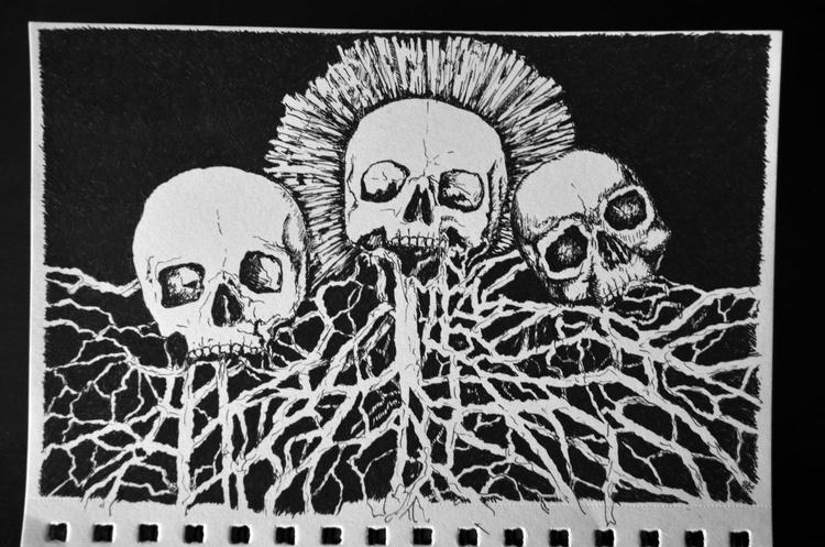 Skulls Sketch Ink - Image 0