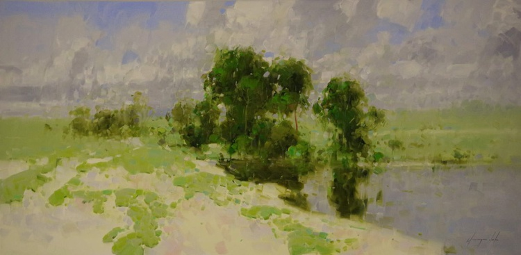 Sunny Day Handmade oil painting One of a kind Large Size - Image 0