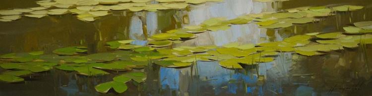 Waterlilies Handmade large oil Painting - Image 0