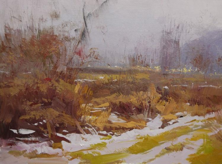 """Oil landscape art piece """" Vivid Snow """" - Image 0"""