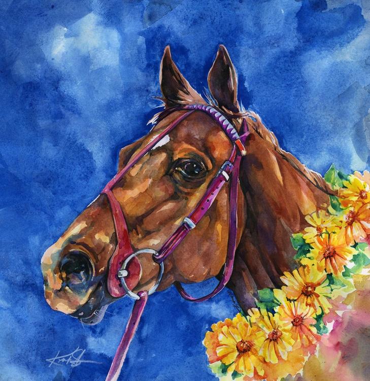 Secretariat Painting, Large Race Horse Watercolor Art, Original Painting by Kathy Morton Stanion EBSQ - Image 0