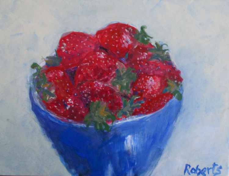 Blue bowl with strawberries - Daily painting 58