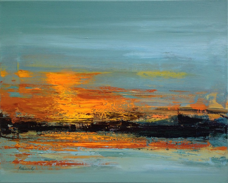 Sunset Impression - 40 x 50 cm abstract landscape painting in grey and orange tones - Image 0