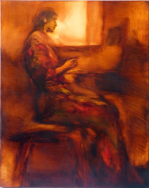 Piano Player, oil on canvas 81x65 cm - Image 0