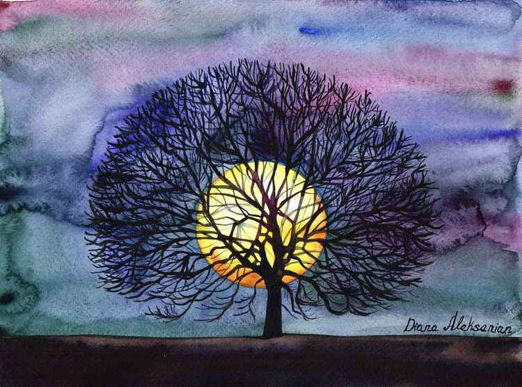 """ Lonely Tree "" Original Watercolour Painting, home interior, home decor, Gift Idea -"