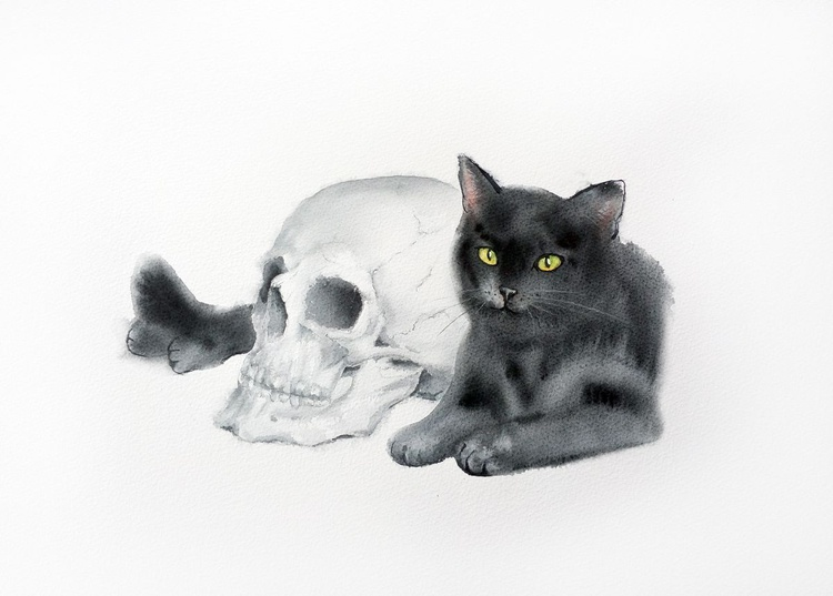Black Cat and a Skull -  Halloween Art - Image 0