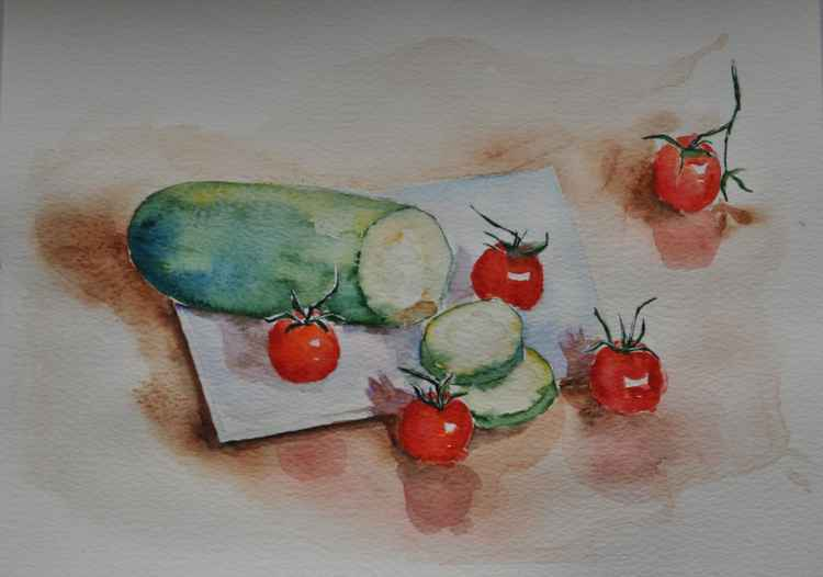 Still life with zucchini and cherry tomatoes