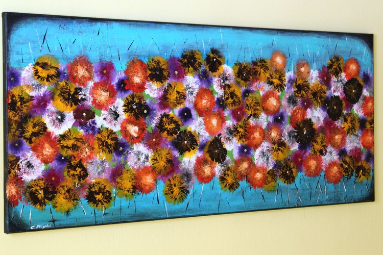 """Vintage Springs - large original abstract painting, 42""""x 18"""" vintage home decor - Image 0"""