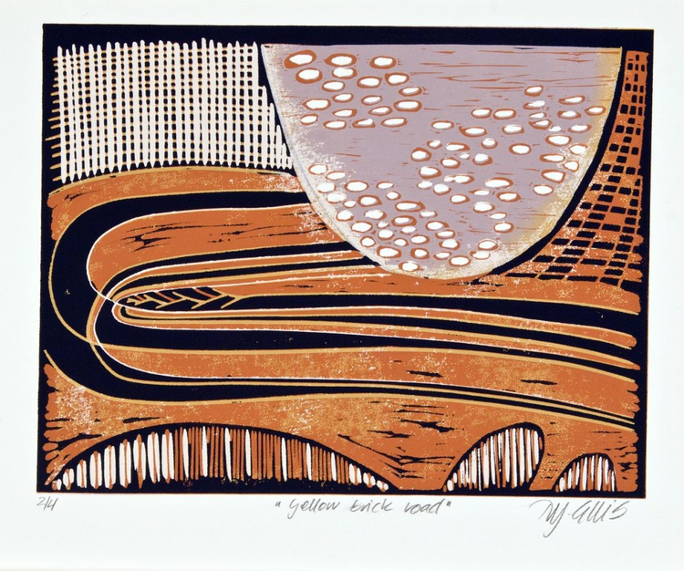 Yellow brick road, abstract linocut reduction - Image 0