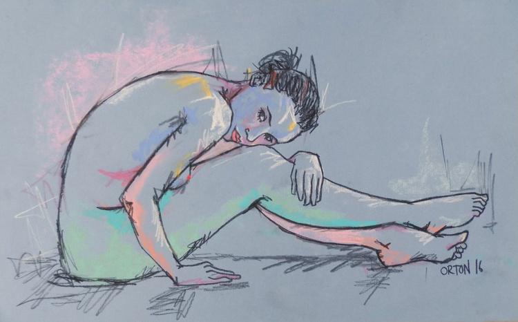 Female Nude Art Life Drawing Figure Study Pastel Charcoal Original Art Drawing - Image 0