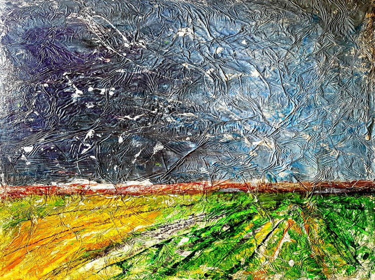 Senza Titolo 199 - abstract landscape - 120 x 90 x 2,50 cm - ready to hang - acrylic painting on stretched canvas - Image 0