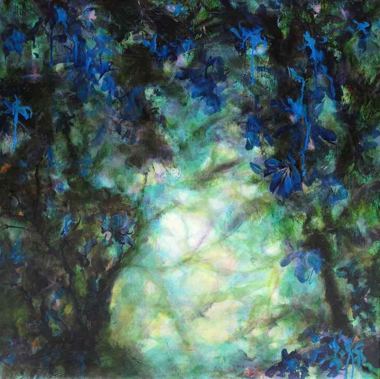 """Le domaine des fées - The fairies field"" - Large size - 80X80 cm -"