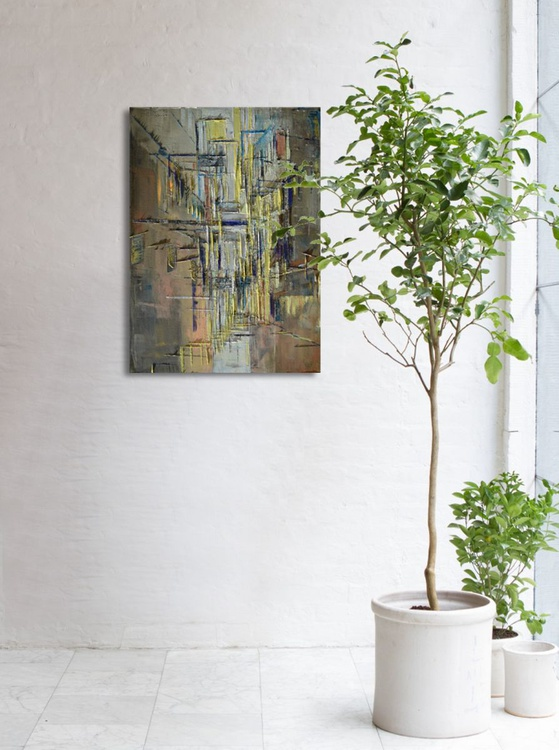 """Abstract painting """"Interior city 08"""". Oil painting on cotton canvas. - Image 0"""