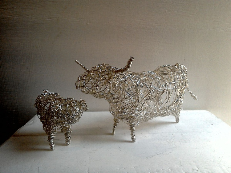 """""""Mother & Child"""". Silver-plated Wirework Handmade Sculpture. - Image 0"""
