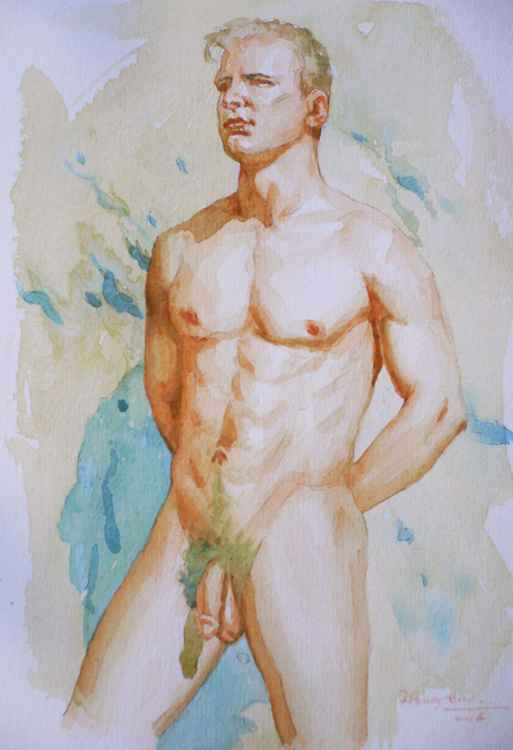 original watercolour painting art male nude man on paper #16-2-24-1