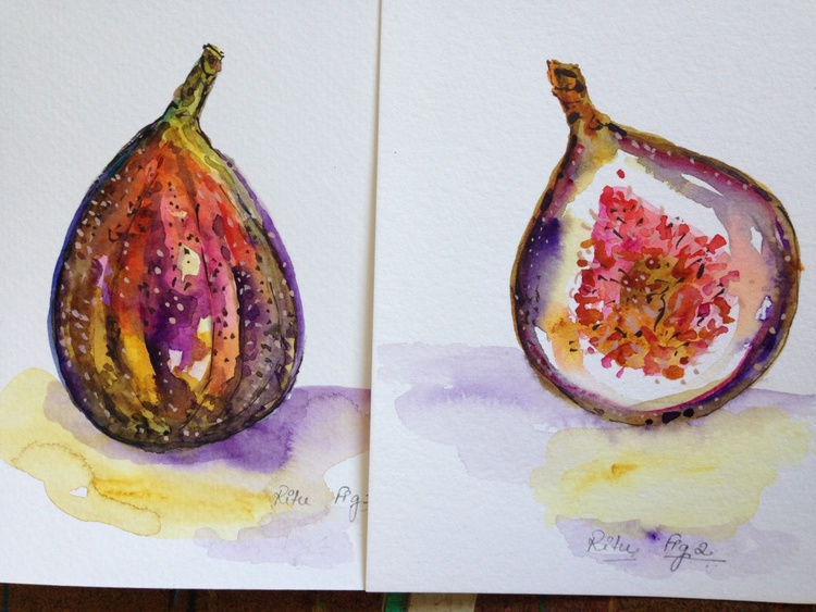 Summer figs (set of 2 paintings) - Image 0
