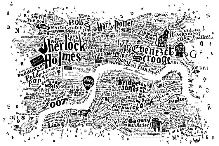 LITERARY CENTRAL LONDON MAP (White) - Image 0