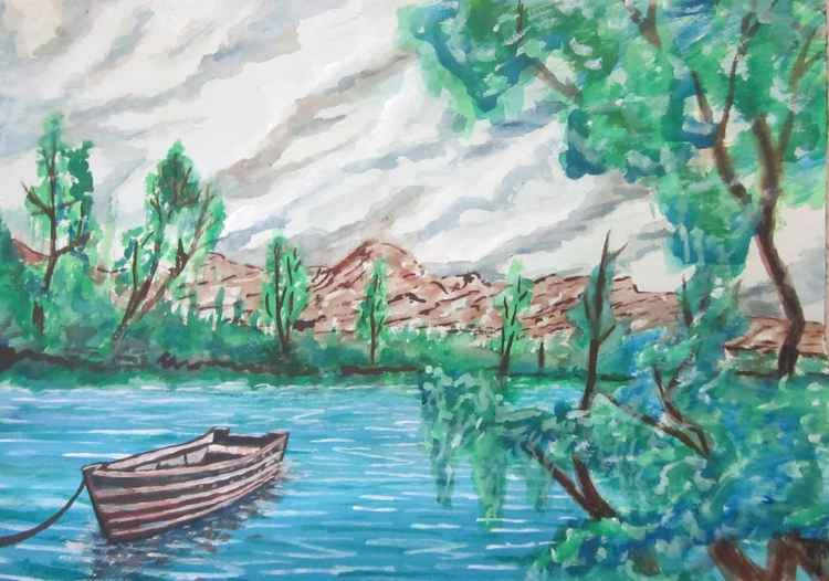 River Scene with Boat -