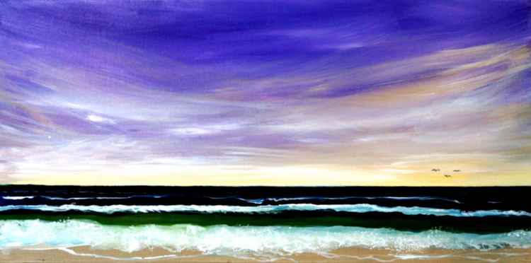 Beach with the Morning Star in a  Violet Sky -