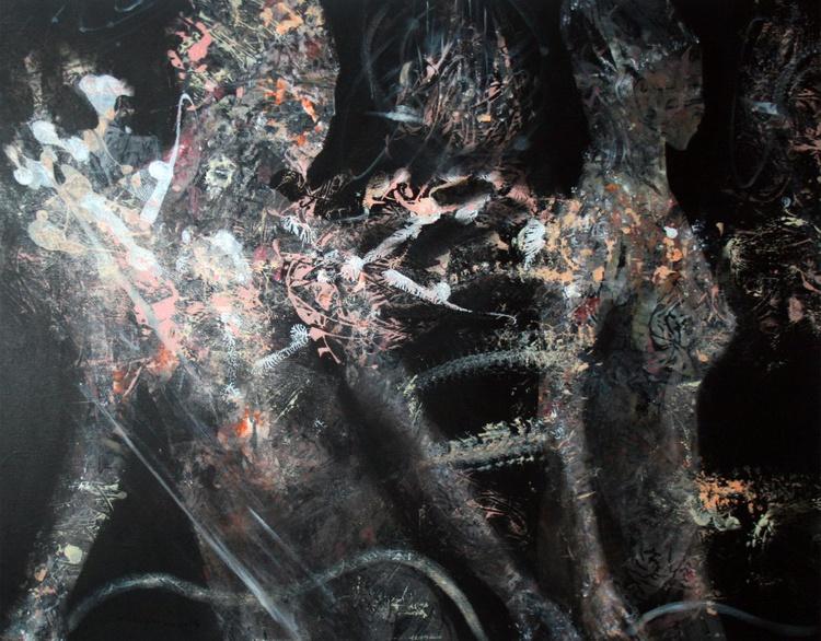 "FANTASTIC NIGHT COUPLE 44 "" ANCESTRAL WEEDING BODIES LOVE BEAUTIFUL FRAMED ORIGINAL KLOSKA - Image 0"