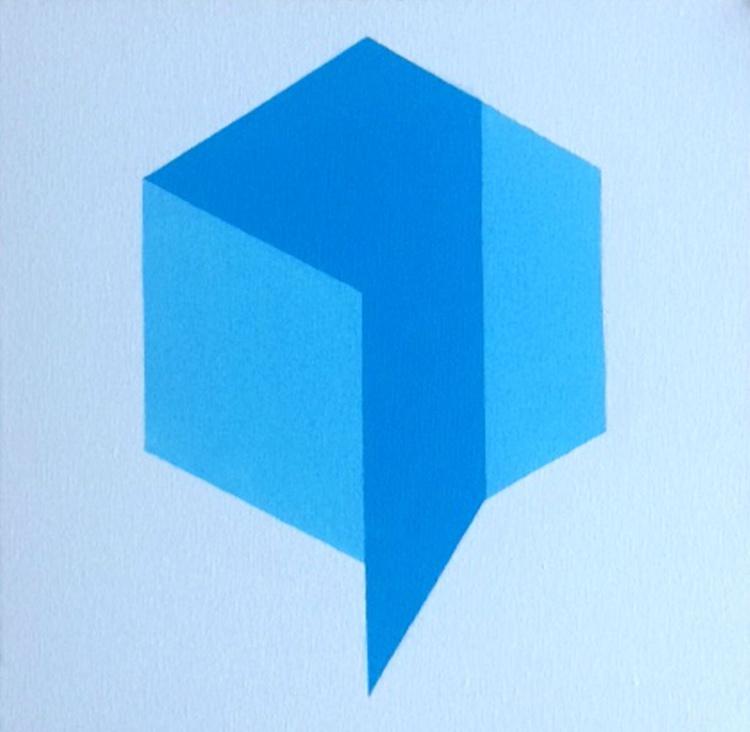 Op Art Geometric Cube Painting - Image 0