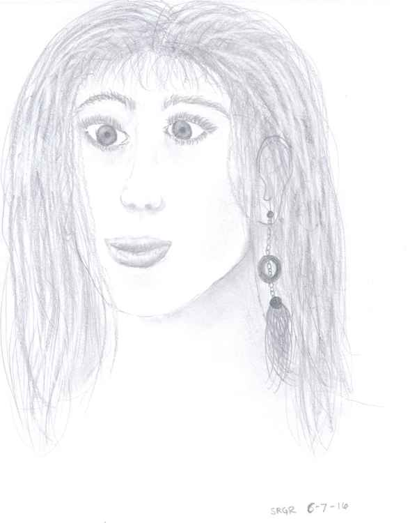 0029 Distorted Face with Earring and Long Hair Drawing