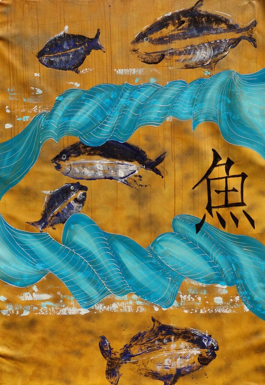 Gold FISH Hieroglyph painting 110×160 cm acrylic on unstretched canvas J33 art original artwork in japanese style by artist Ksavera - Image 0