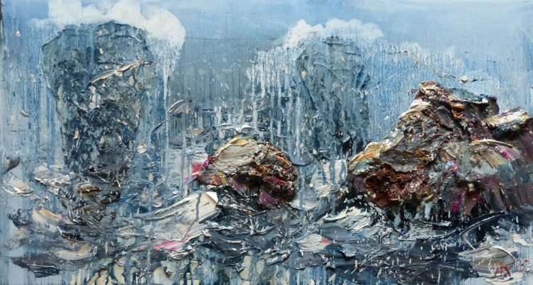 Stones, oil painting 65x35 cm - Image 0