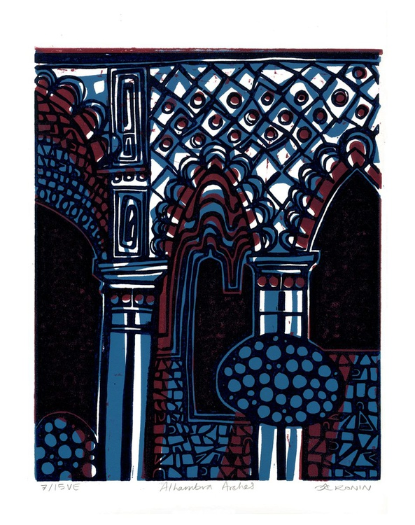 Alhambra Arches Linocut Hand Pulled Original Relief Print Variable Edition of 15 (purple) - Image 0