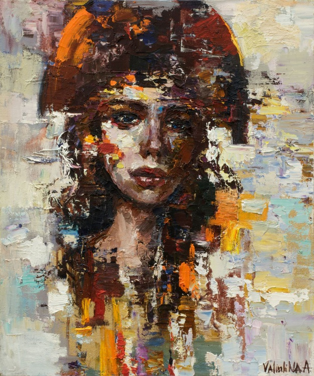 Abstract girl portrait painting #3, Original oil painting - Image 0