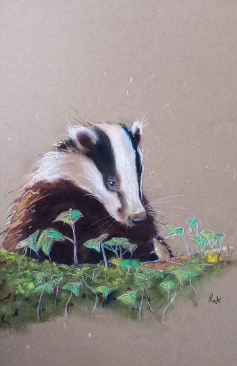 Badger & The Field Mouse - Pastel painting on paper - Impressionist