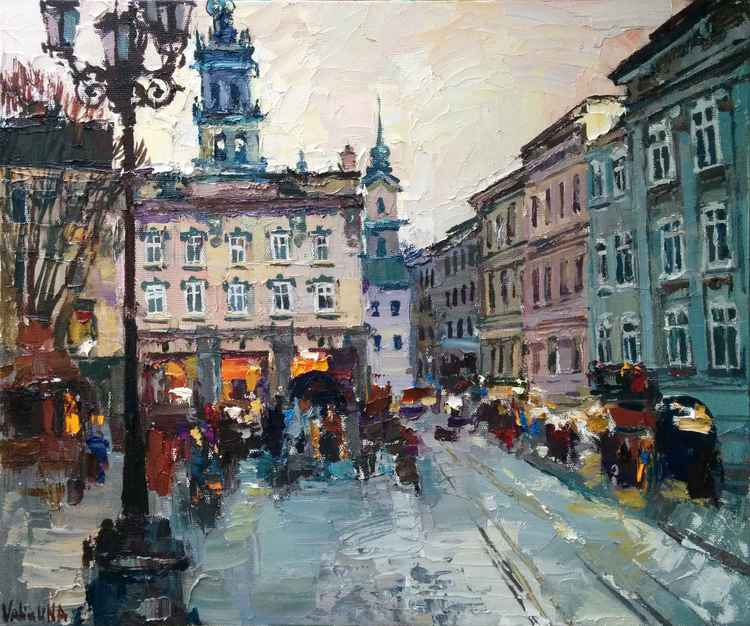 Lviv. Original oil painting evening city of Lviv, Ukraine, landscape painting