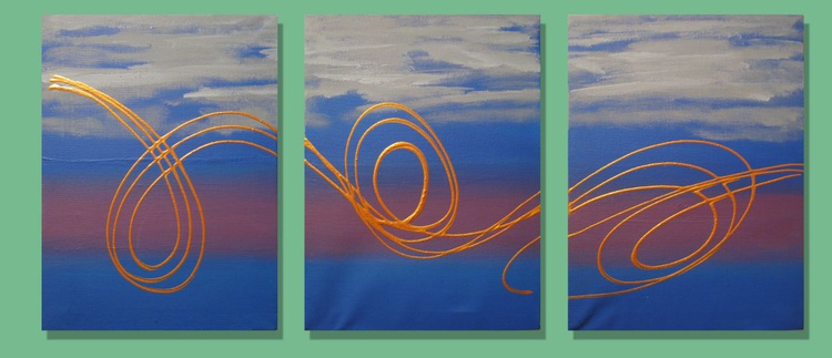 wall canvas art triptych abstract original abstract painting art canvas - 27 x 12  inches - Image 0