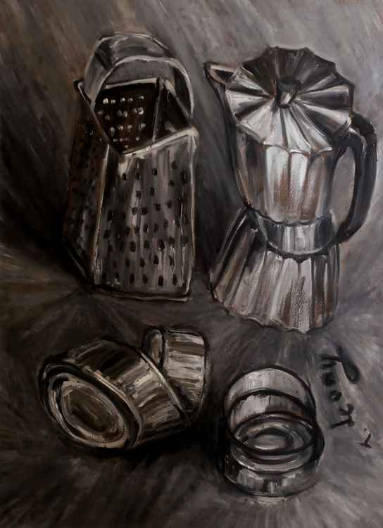 Still life with a coffee maker, a grater and three cans -