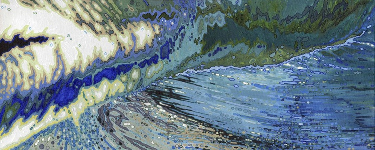 """Merging Crashing Ocean Waves 16 x 40"""" Gallery Wrapped painted sides - Image 0"""