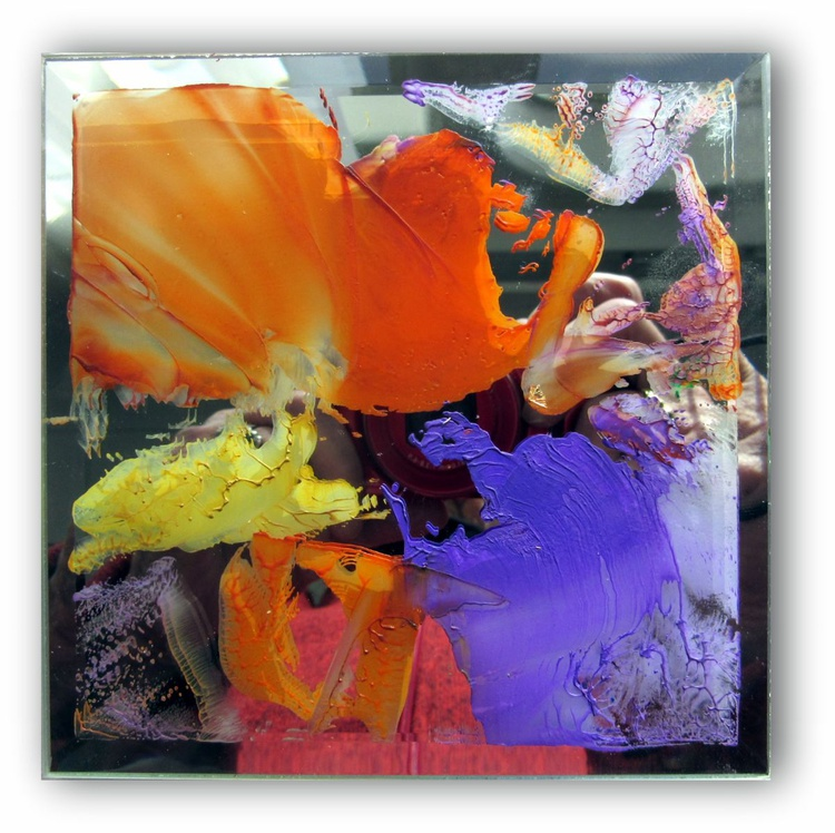 """""""Small Painted Mirror #2"""" - 5x5inch beveld  mirror painted with encaustic medium - great Gift Idea - Image 0"""