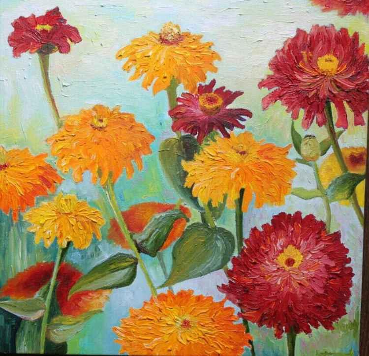 Flowers zinnias -
