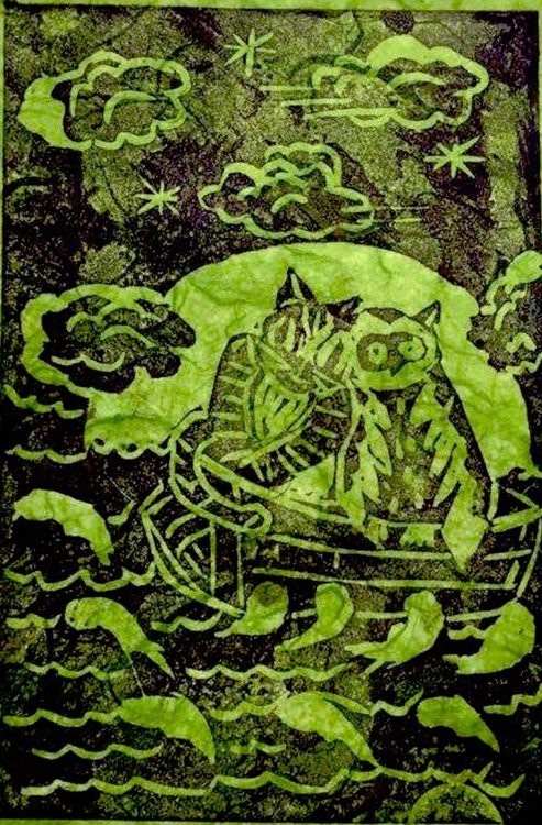Owl and the Pussycat (in a Pea Green Boat), Original Handmade Linocut - Image 0