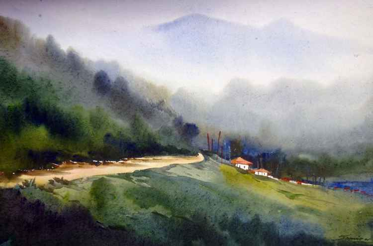 Himalaya Landscape- Watercolor on Paper -