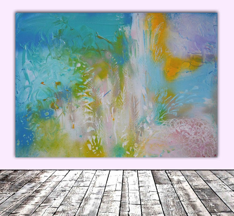 Crystal Shiver - 19,4x27,6 inches, Large Modern Ready to Hang Abstract Painting, Office Wall Decoration - Image 0