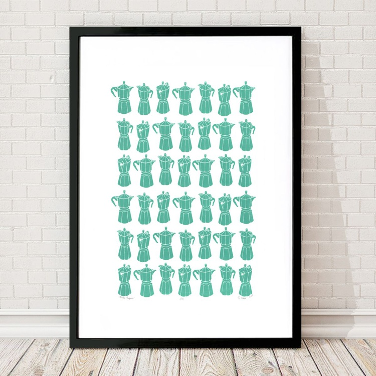 Moka Express Coffeemaker Print in Sea Green A2 Size - Framed - FREE UK Delivery - Image 0