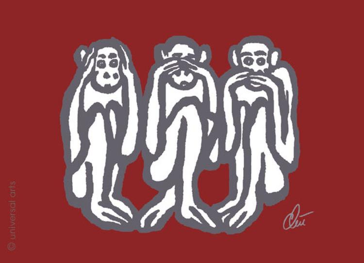 Three Wise Monkeys - red - Image 0